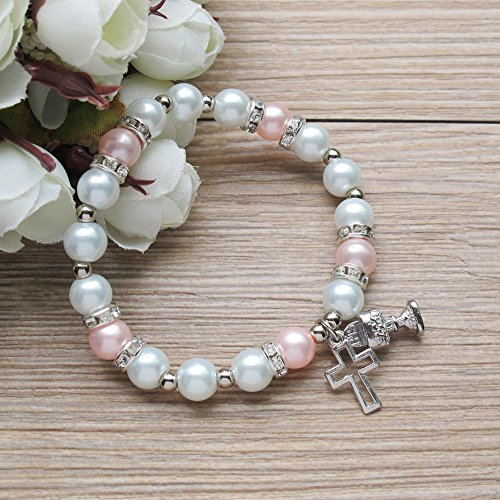 First Holy Communion Party Favor (12 PCS) Stretch Pearl Bracelet with Silver Metal Chalice and Cross Charms/Recuerdos para Primera Comunion Niña/Gift for Guests