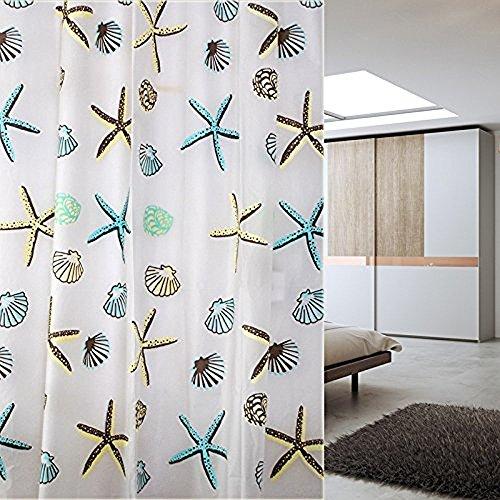Discount JynXos Shower Curtain Canvas Fabric, Beach Seashell Starfish Design 72x84 Inch for sale
