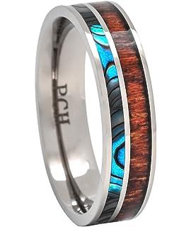 Amazoncom Pch Jewelers Tungsten Ring Hawaiian Koa Wood