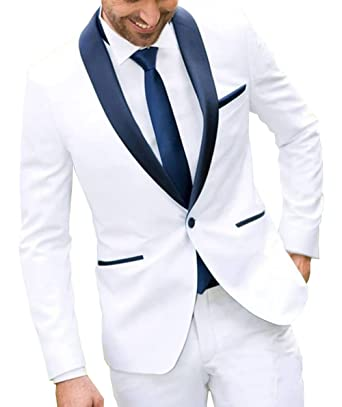 Fitty Lell Mens One Button White Two Piece Wedding Groom Suit Navy