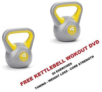 IQI - Pesas 4 kg, Kettle Bell 2 x 4 kg pesa rusa par libre (entrenamiento DVD: Amazon.es: Deportes y aire libre