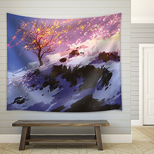 Fantasy Landscape Showing Bare Tree in Winter with Glowing Snow Digital Painting Fabric Wall Tapestry