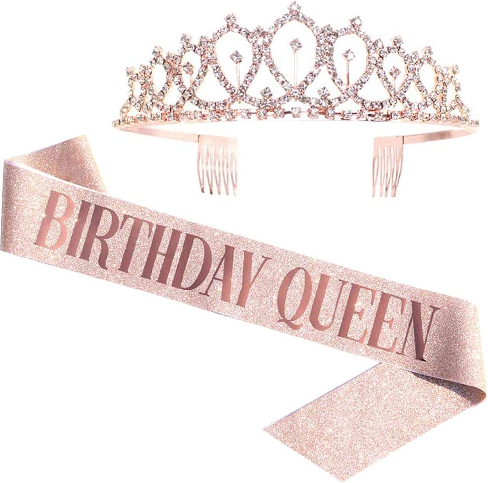 Birthday Queen Sash & Rhinestone Tiara - Rose Gold Birthday Gifts Glitter Birthday Sash Birthday Party Favors