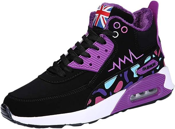 LuckyGirls Zapatos de Correr para Mujer Mezcla de Colores Casual Calzado de Deporte Zapatillas Planos Bambas de Running con Cordones Cojín de Aire: Amazon.es: Deportes y aire libre