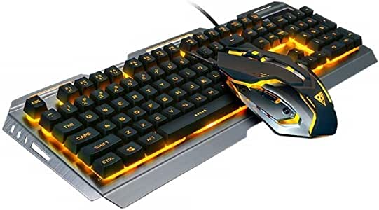 RGB Gaming Keyboard Mouse Combo Wired,Color Changing LED Backlit Computer Gaming Keyboad,Lighted PC Gaming Mouse,USB Keyboard Clicky Keys,Durable Metal Structure,for Xbox One PS4 Games Gamer Working
