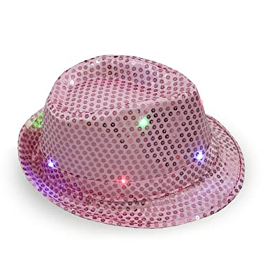 7a48ced7f71 OWIKAR LED Sequin Flashing Hat Luminous Unisex Light Up Party Costume Bling  Jazz Cap Adults Performance