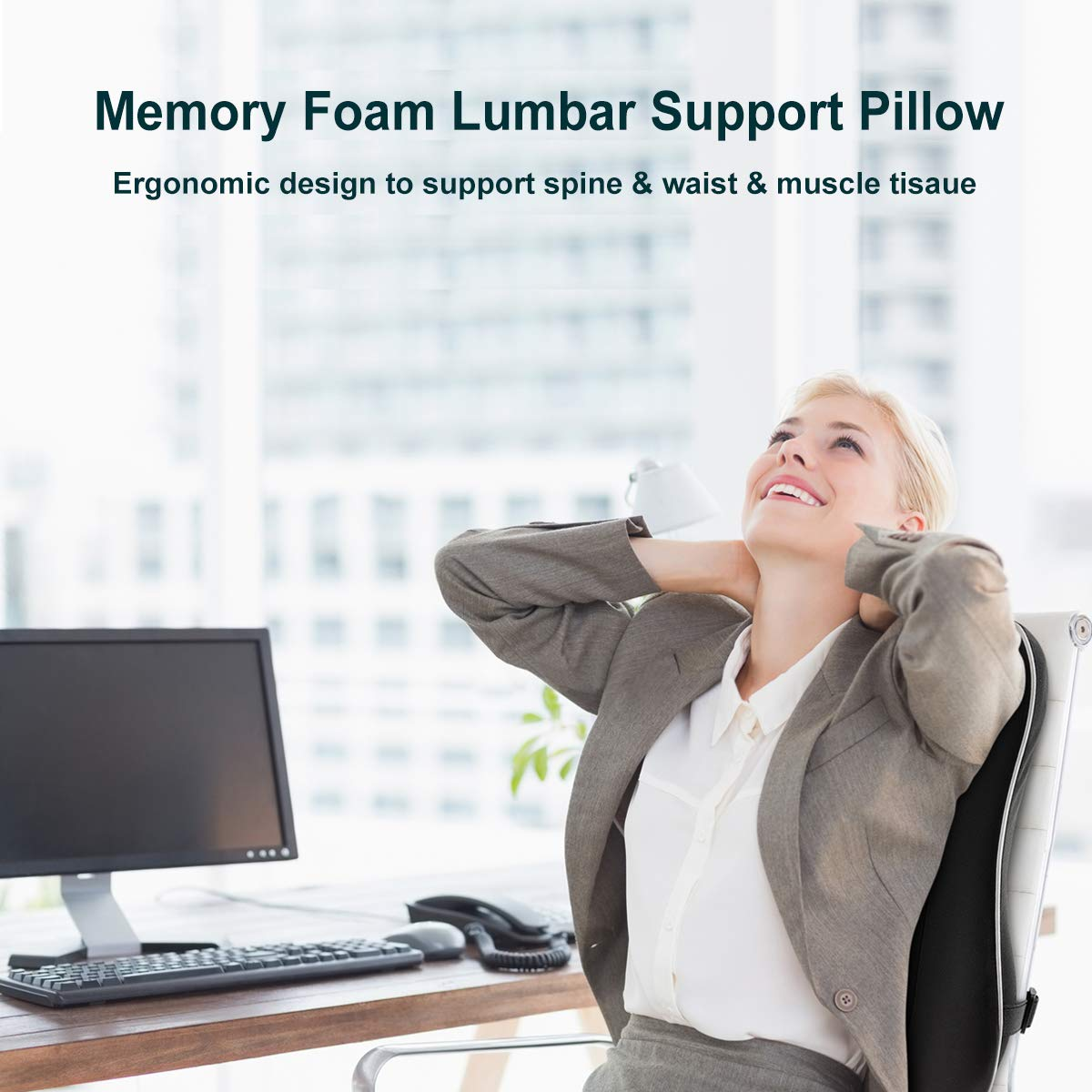 Newgam Lumbar Support Pillow Back Cushion,Memory Foam Orthopedic Backrest with Breathable 3D Mesh for Car Seat,Office Computer Chair,Wheelchair and Recliner,Ergonomic Design for Back Pain Relief-Black