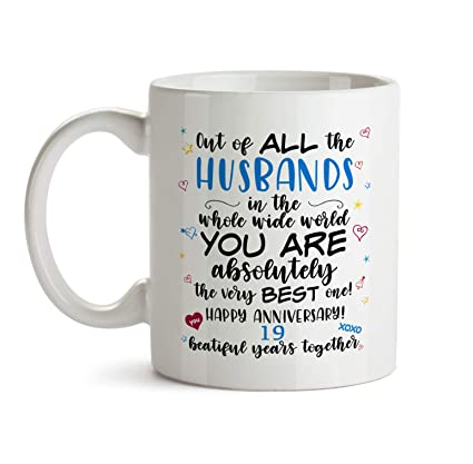 19th Wedding Anniversary Gift Mug - BB62 Happy Marriage Anniv To The Very Best Ever Husband