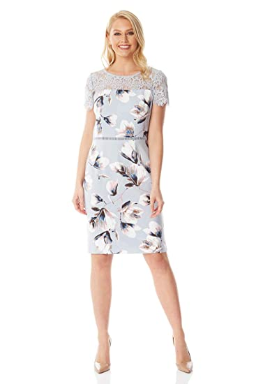 1251ba41b961 Roman Originals Women Floral Lace Yoke Scuba Dress - Ladies Short Sleeve  Knee Length Midi Evening Party Wedding Guest Special Occasion: Amazon.co.uk:  ...