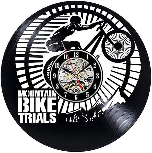 clockfc Reloj de Pared de Vinilo para Bicicleta de montaña Diseño Moderno Ciclismo Ciclismo Deporte Reloj de Registro de Vinilo Reloj de Pared Decoración para el hogar Regalos para Moteros: Amazon.es: Hogar