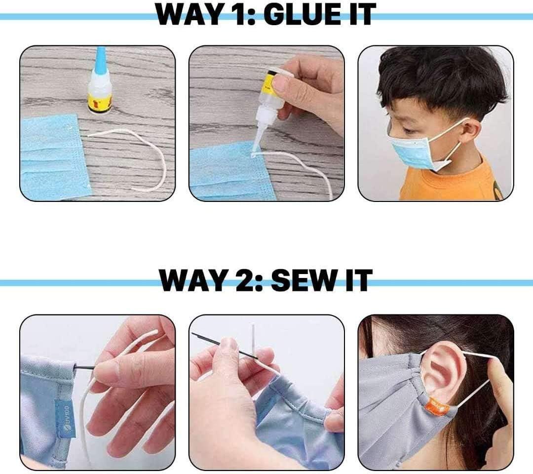 Cuerda El/ástica KEEHOM Cord/ón El/ástico Blanco Redondo para Costura y Manualidades DIY Cinta 3mm*10m para Coser