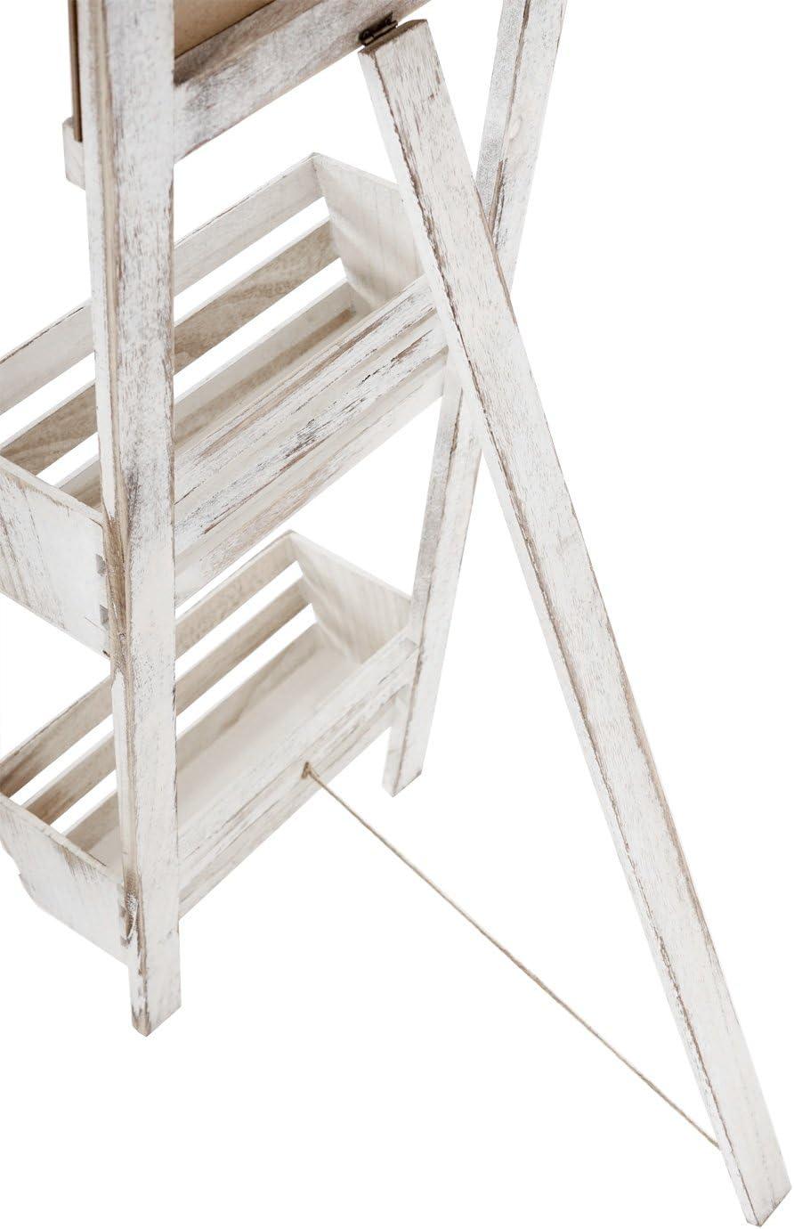 Mendler Estantería con Pizarra, estantería Jardinera para Plantas Soporte, 117 x 34 x 58 cm Shabby Look Vintage ~ Color Blanco: Amazon.es: Hogar