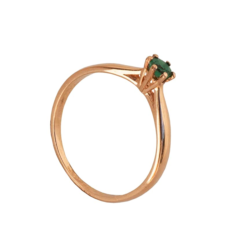 Rose or White Gold Customizable Platinum,9K,10K,14K,18K Yellow Dainty Open Hearts 9k White Gold Natural Emerald Womens  Solitaire Ring