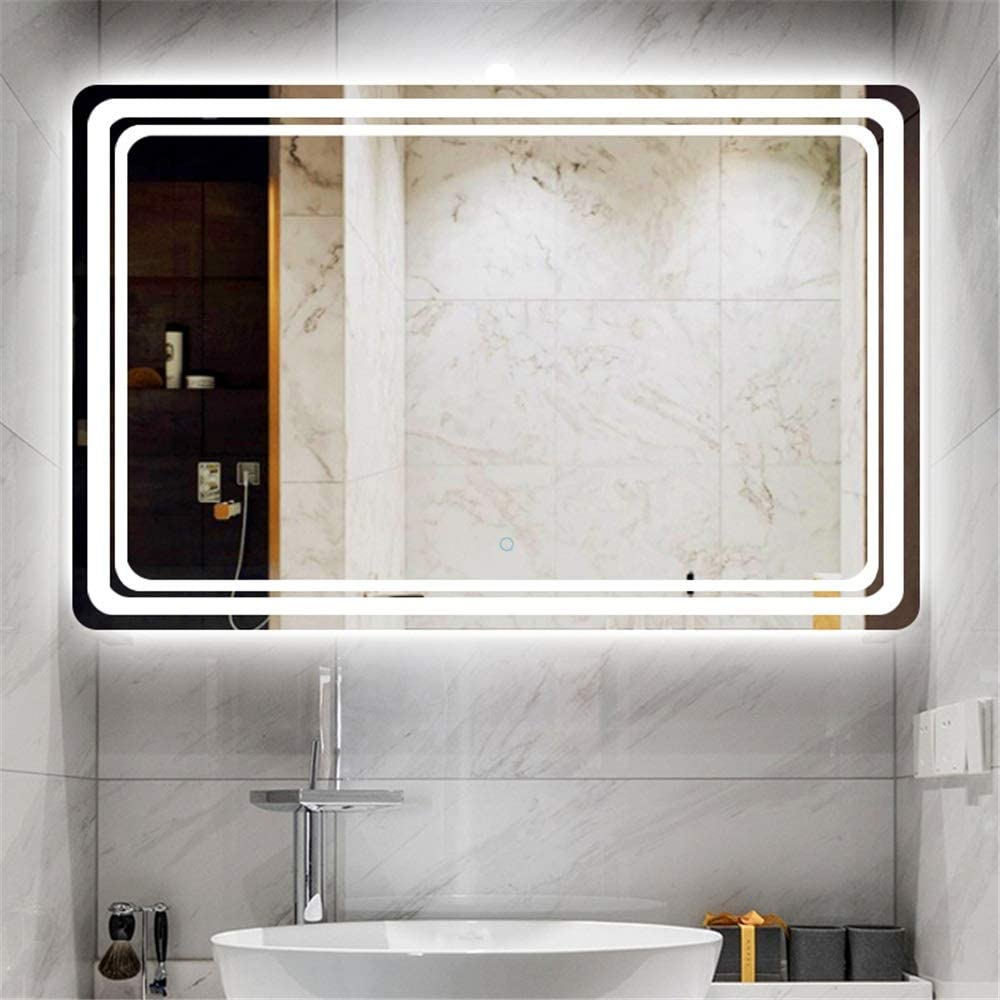 BTTNW HO Espejo de baño led Espejo de baño antivaho con Espejo de luz LED de Ahorro de energía del Espejo Impermeable Anti-Niebla de Pared Espejo de Maquillaje Espejo Espejo de baño