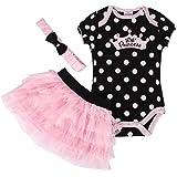 Newborn Baby Girls Tutu Princess Dress Romper Body Suit with Headband 3pcs Outfit Set 0-24 Months