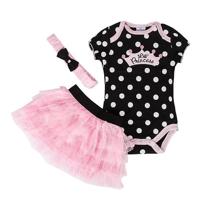 ec3f653d9713 Dizoon Baby Infant Newborn Babies Toddler Girls Tutu Princess Dress Romper  Body Suit With Headband 3pcs