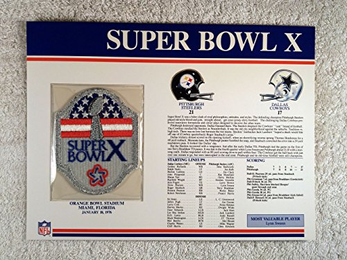 Super Bowl X (1976) - Official NFL Super Bowl Patch with complete Statistics Card - Pittsburgh Steelers vs Dallas Cowboys - Lynn Swann - 21 Super Bowl Mvp