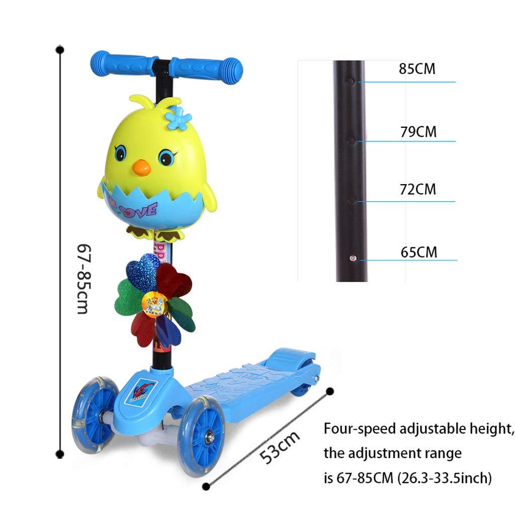 2-8 Jahre alte männliche und weibliche Baby-Roller-Höhen-justierbares mageres Lenkungs-Blitz-Tritt-Roller  (Farbe  Lenkungs-Blitz-Tritt-Roller  Blau) 493a10