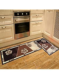 Seamersey Home And Kitchen Rugs Peony Pattern 4 Size 2 Pieces Decorative  Non Slip Rubber