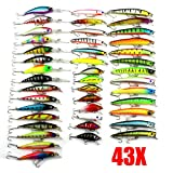 WALLER PAA 43pcs/lot Mixed 6 Models Minnow Lure Crank Bait Tackle Assorted Fishing Lures