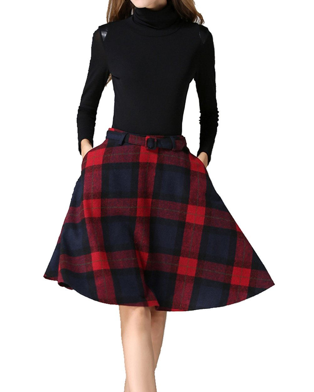 Womens Vintage Plaid Wool High Waist A-lineKnee Length Sakter Skirt with Pockets(S/US 2, Red) by Armear (Image #2)