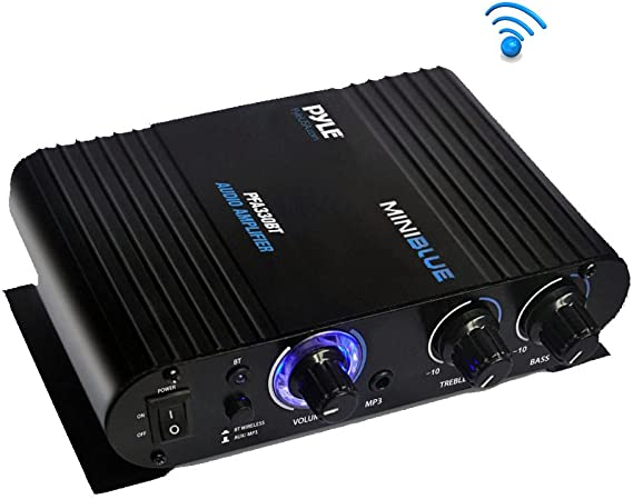 Wireless Bluetooth Home Audio Amplifier - 90W Dual Channel Mini Portable Power Stereo Sound Receiver w/ Speaker Selector
