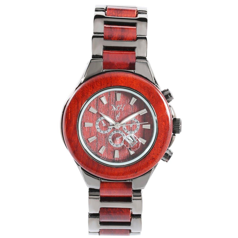 Women's Wooden Watch Rosewood IP Black Date Quartz Handmade Wood Watch