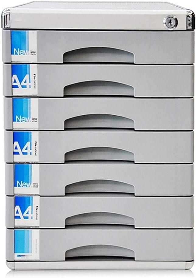 Organizador de Material Caja de Almacenamiento de Datos de Escritorio de 7 cajones Gabinete de Oficina con Cerradura de Llave de plástico Plata 30 * 36 * 40.5cm Caja de Almacenamiento