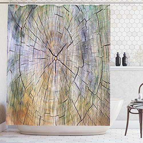 Ambesonne Rustic Home Decor Shower Curtain, Annual Rings of Wood Growth Dirty Inner Tree Body Branch Whorls Width Design, Fabric Bathroom Decor Set with Hooks, 70 Inches, Pastel Colors (Branch Fabric Curtain Shower)