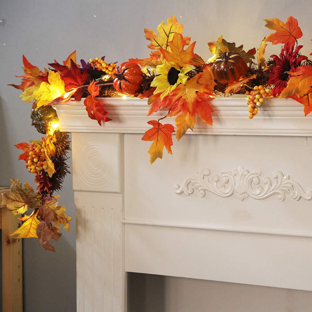 Vovomay 1.8M LED Light, Fall Autumn Pumpkin Maple Leaves Garland Decorative Rattan -LED Light String Festival Party Decor
