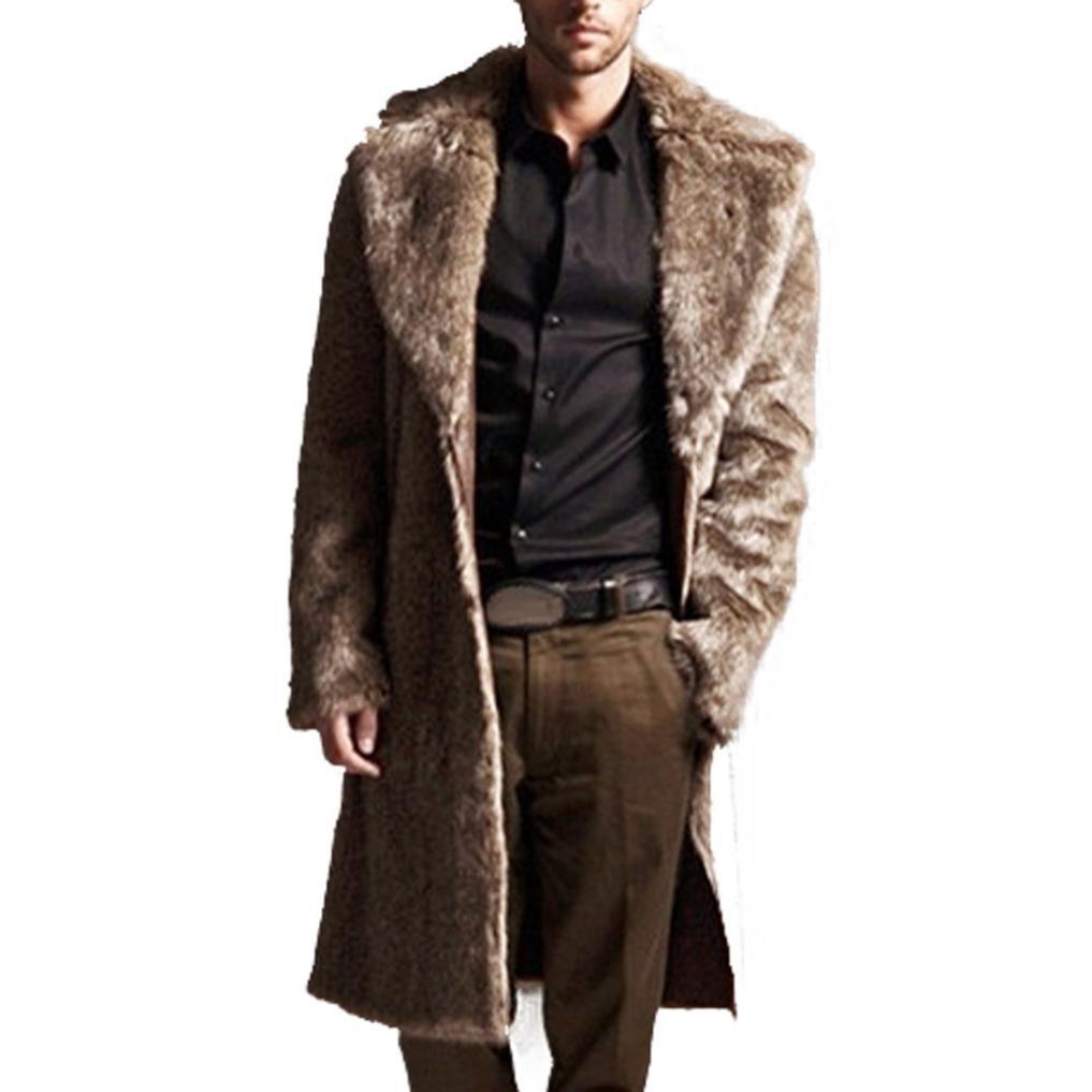 Brown XXL Brown XXL Faux Fur Coat, ManxiVoo Mens Precious Warm Plus Thickening Long Coat Lapel Trench Jacket Parka Outwear Cardigan (XXL, Brown)
