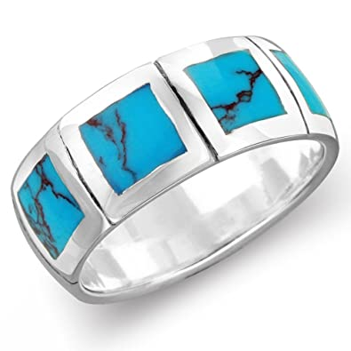 Sterling Silver 8mm Simulated Turquoise Men Women Engagement Wedding Band Ring