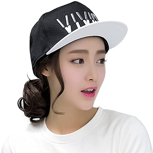 ae1e6d3632f9e SIGGI Summer Flat Bill Baseball Hip Hop Sun Cap Hat Snap Strapback Women  Black