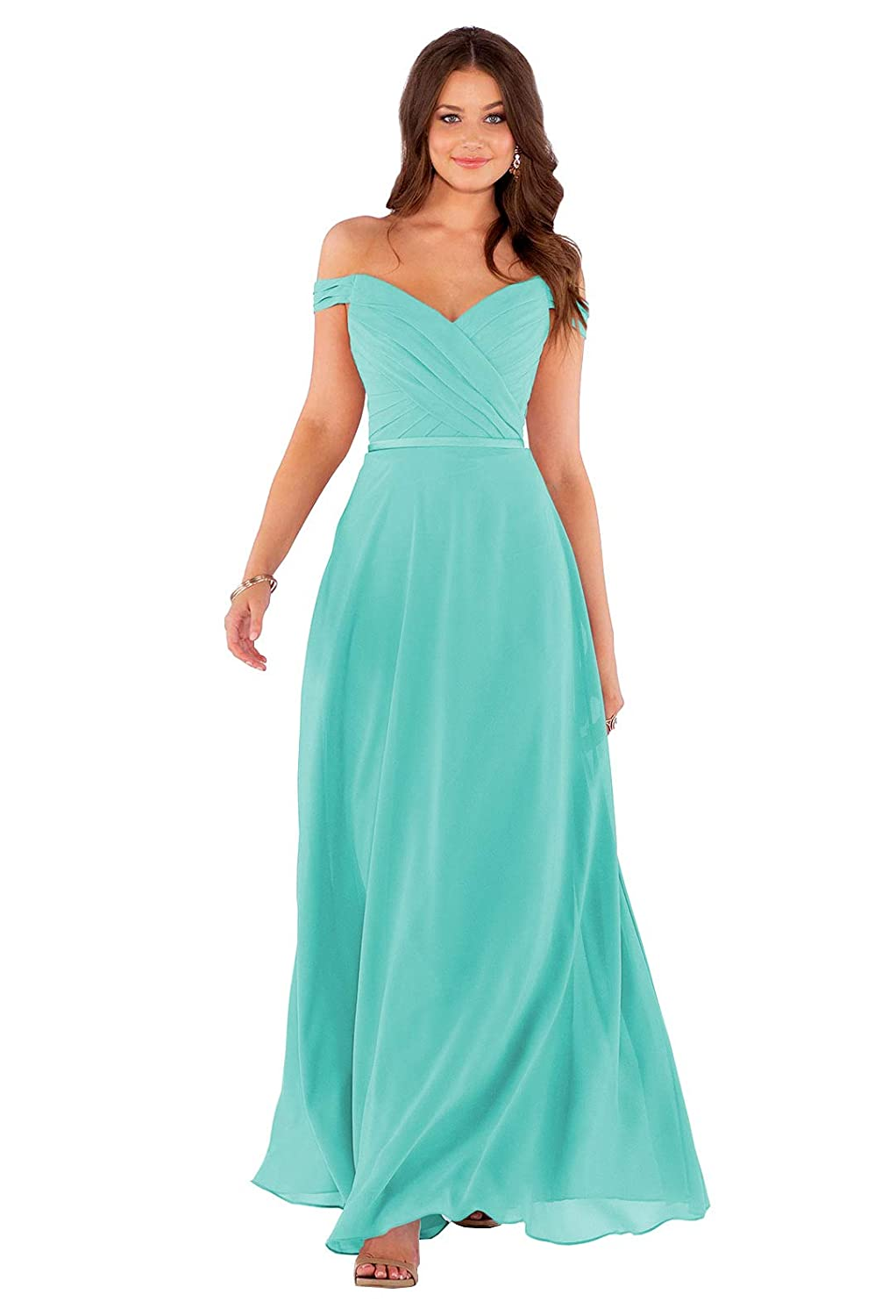 Womens V Neck A-line Pleated Chiffon Bridesmaid Dresses Long Split Front Evening Formal Party Gown