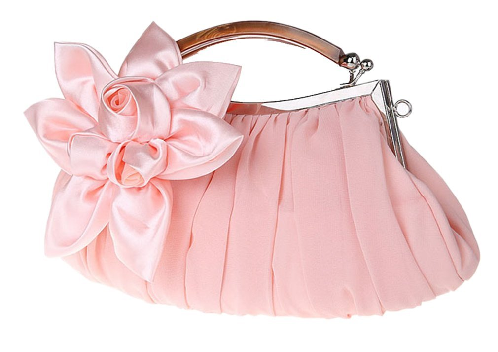 Bywen Womens Satin Flower Purse Party Clutch Shoulder Bags Light Pink