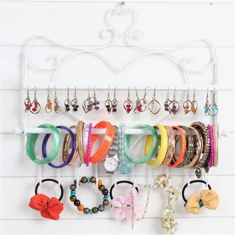 XEMZ Wall Hanging Jewelry Organizer Holder, 28 Hooks Bracelet Earrings Wall Metal Shelf Necklace Hanger (white)