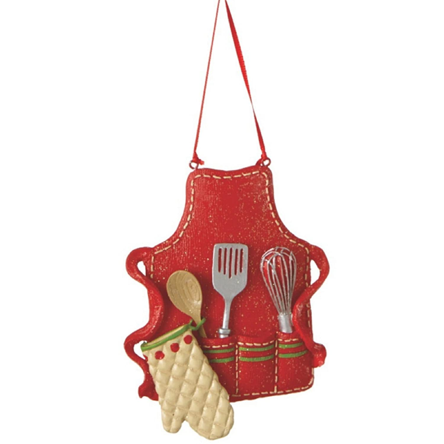 "Cute Christmas Holiday Pastry Chef Bakers Apron Ornament , Red, Medium, 3.5"" x 3"""