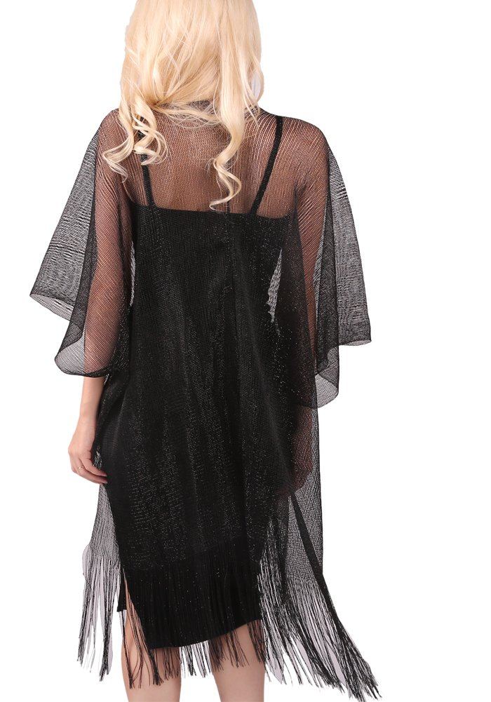 MissShorthair Womens Glitter Open Front Cardigans Sheer Metallic Long Kimono with Tassel by MissShorthair (Image #4)