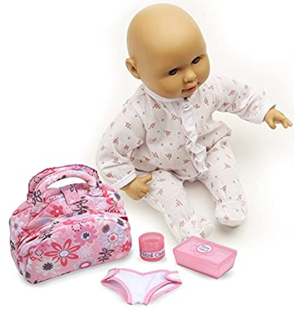 Melissa Doug Bundle 2 Items Mine To Love Mariana 12 Inch Poseable Baby Doll With Romper And Hat Mine To Love Doll Diaper Changing Set With Bag