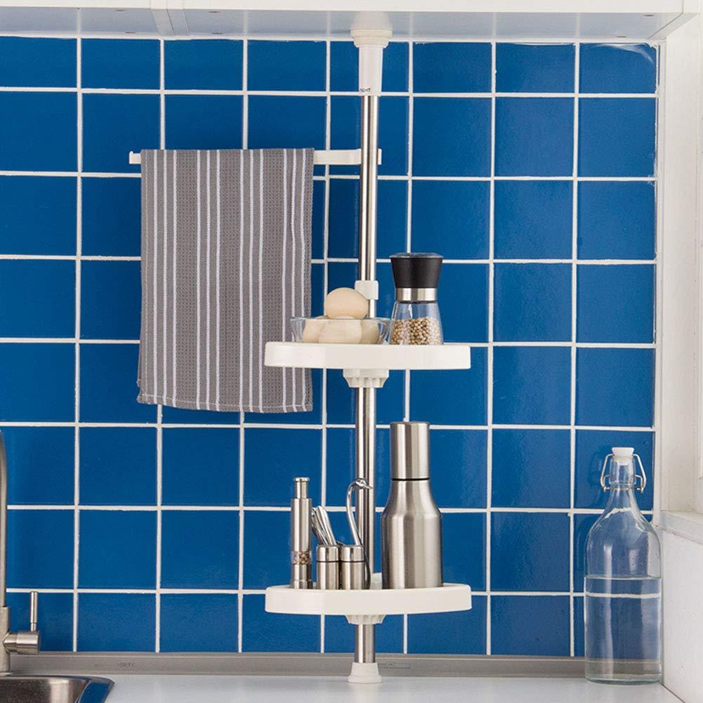 Shelf Storage Racks Wall Kitchen Tripod Double Layer Wall Hanging Punch Free Adjustable Telescopic Spice Rack Cupboard Organizers Cutlery Racks ZHAOYONGLI by ZHAOYONGLI-shounajia (Image #4)