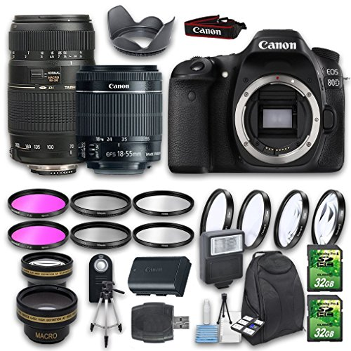 Canon EOS 80D DSLR Camera Bundle with Canon EF-S 18-55mm f/3.5-5.6 IS STM Lens + Tamron Zoom Telephoto AF 70-300mm Lens + Wideangle Lens + Telephoto Lens + 2 PC 32 GB Cards + 6 PC Filter Kit