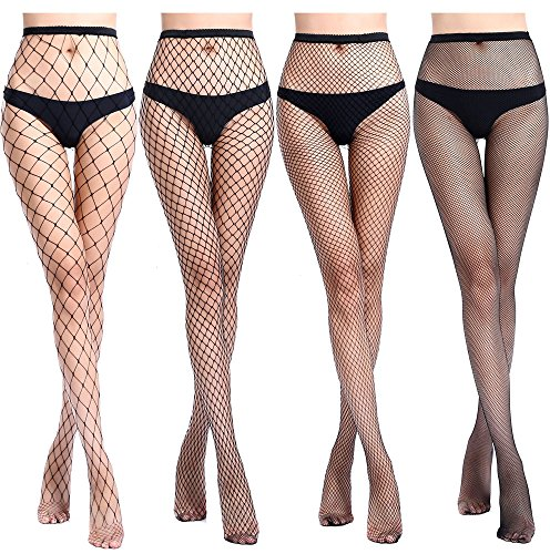 Black Industrial Fishnet - Lady Up Women's Fishnet Hosiery Black Tights Sexy Stockings High Waist Patterned Mesh Net for Party Industrial (4 Pairs)