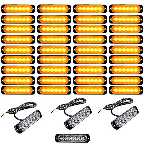 - 40PCS Amber Universal Super Thin Ultra Slim 6-LED Car Truck Warning Caution Emergency Construction Flashing Strobe Light Bar (In Bulk) Trailer RV Morto