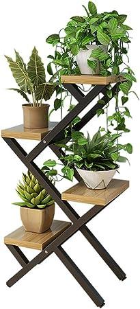 JJHOME-Soportes Estante de Flores Estante/Soporte de Plantas escalonadas de 4 gradas - Estante de Maceta de Hierro de Metal Negro hogar, el jardín, el Patio - 40x25x80cm: Amazon.es: Hogar
