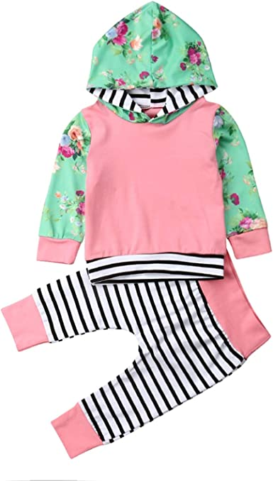 Baby Girl Long Sleeve Hoodies Top Striped Pants Newborn Outfits Clothes Sets New
