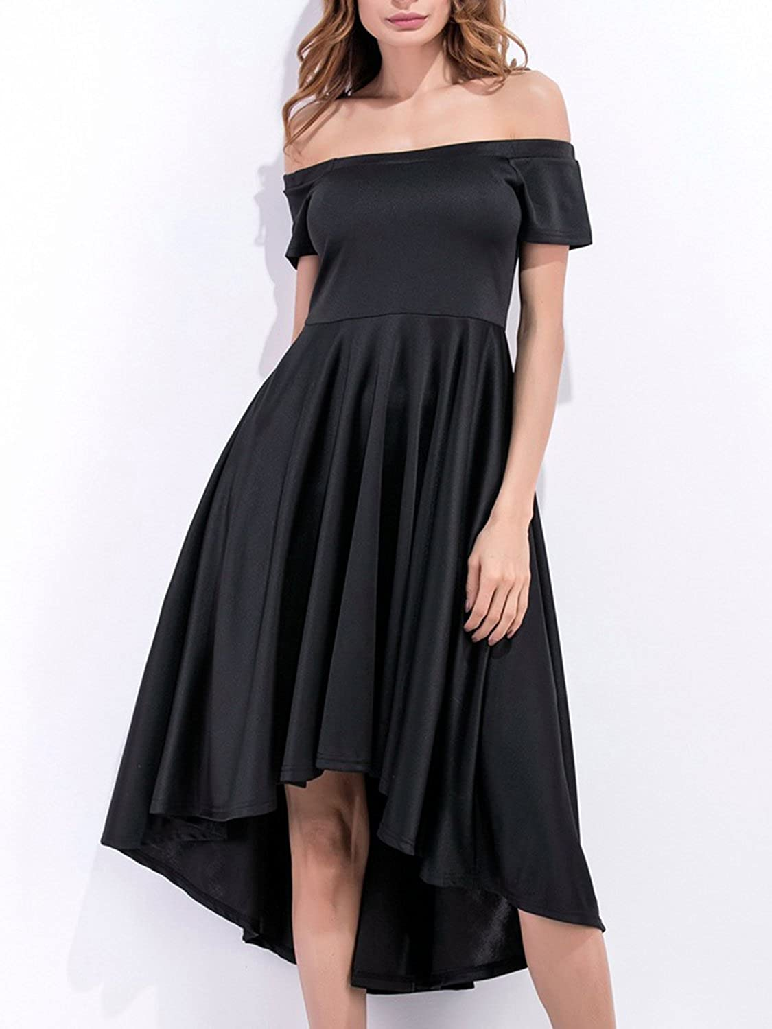 Women s Sexy Off Shoulder Short Sleeve High Low Skater Swing Prom Dress -Burdungy Black at Amazon Women s Clothing store  46d1766bad