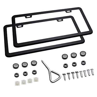 Ohuhu 2 PCS Slim Bottom License Plate Frames Matte Black Powder Coated Wont Block Letters/Stickers: Automotive