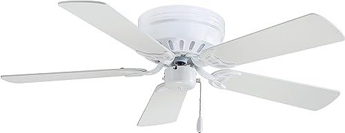 Minka-Aire F566-WH Flush Mount, 5 White Blades Ceiling fan, White