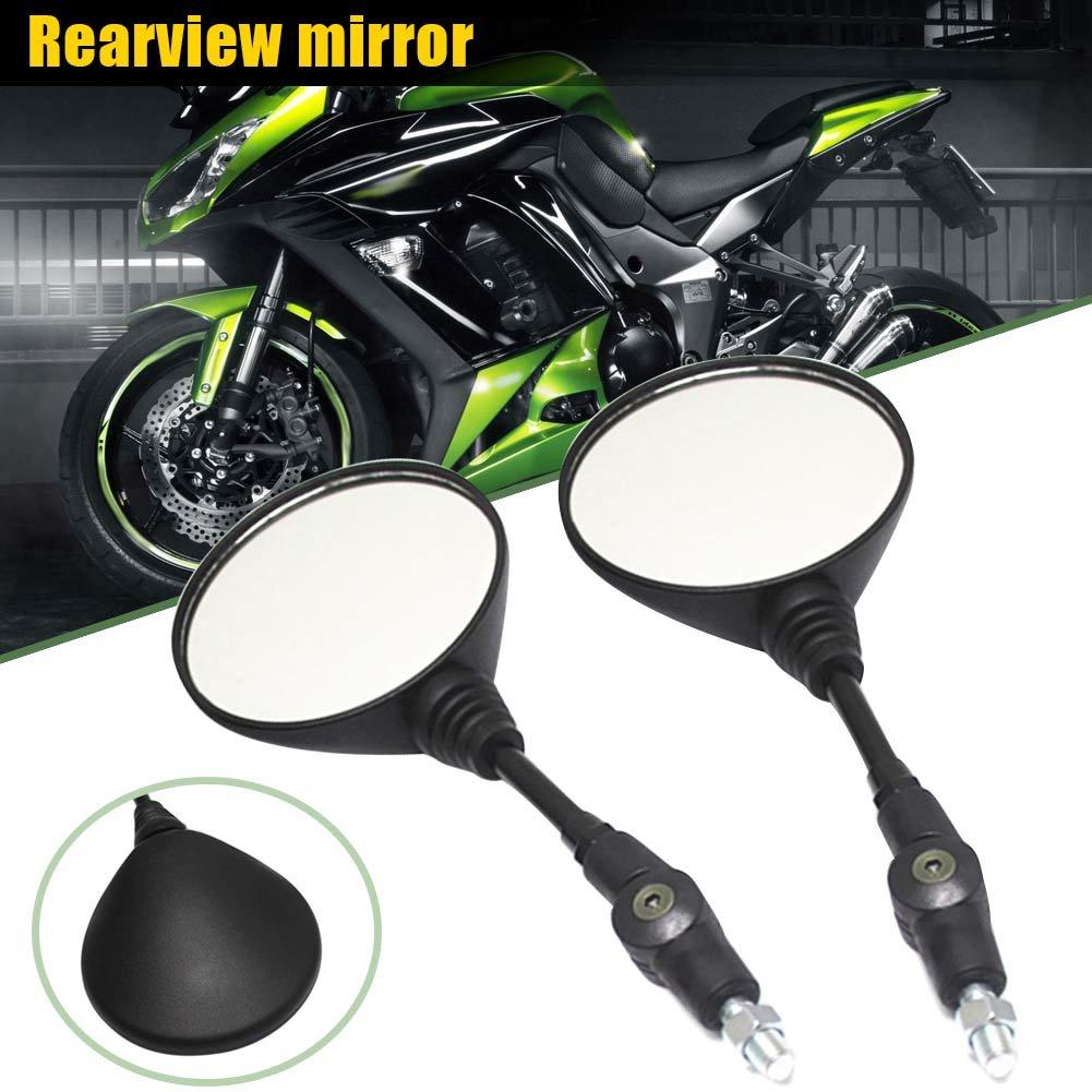 Alftek 1/Paire Moto Pliable R/étroviseurs Ronds Universel R/étroviseur pour Kawasaki Kx250/Kl250