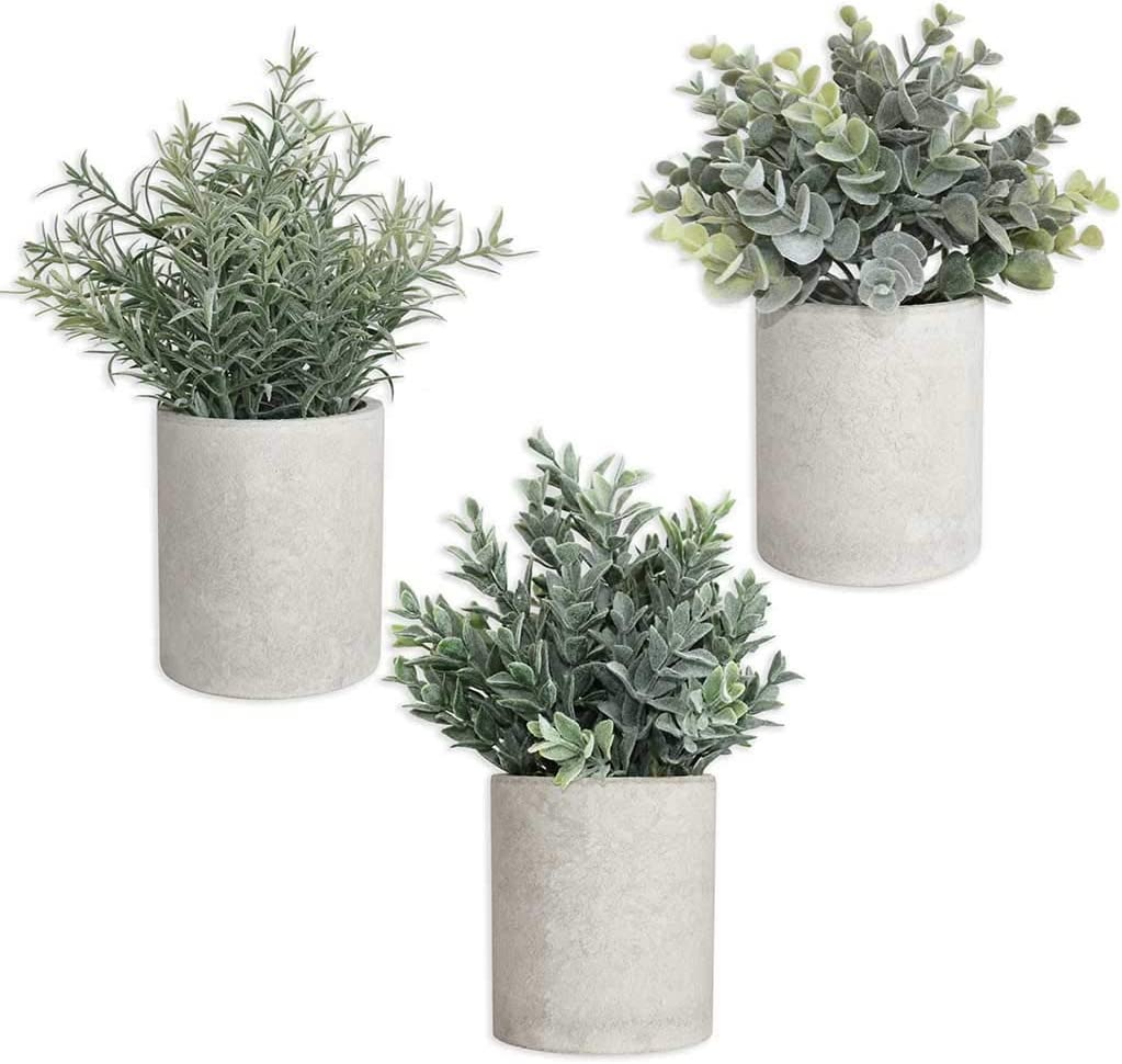 Fake Christmas Plants, Artificial Potted Plants for Bathroom Decor, Mini Potted Plastic Fake Green Plant Faux Eucalyptus & Rosemary Greenery, for Indoor Christmas Table Decor & Home Decor